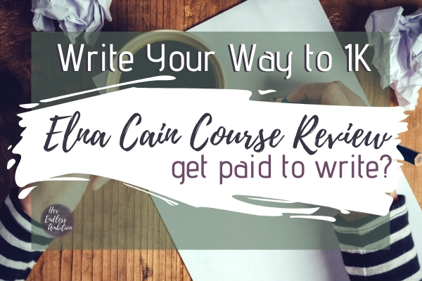 Elna Cain Course Review - Get Paid to Write- Hands on desk writing on paper with crumpled paper and coffee next to writer.